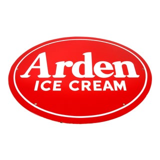 1930s Vintage Arden Ice Cream Porcelain Dairy Advertising Sign