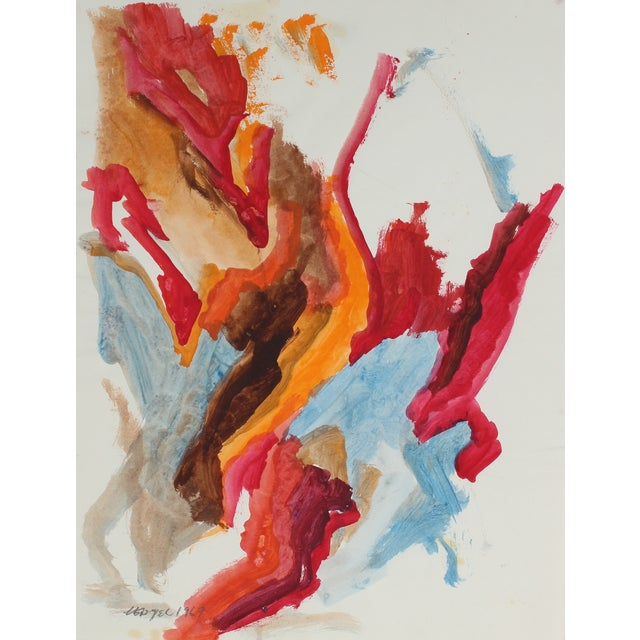 Vintage 1967 Abstract Bay Area Gouache Painting - Image 1 of 2
