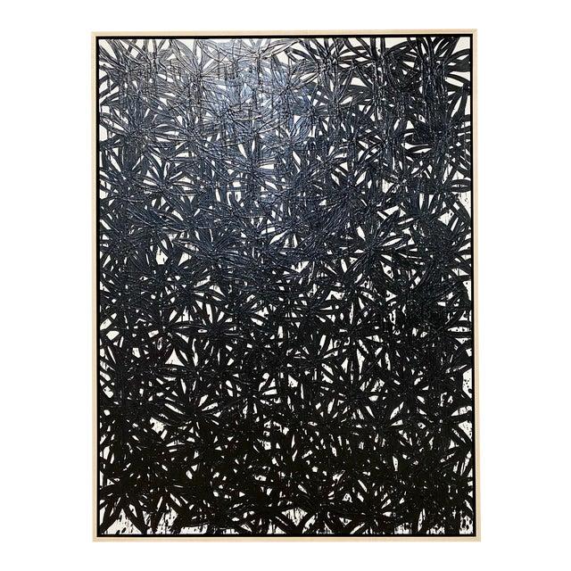 "Exclusive John O'Hara ""Daisies, Black"" Encaustic Painting For Sale"