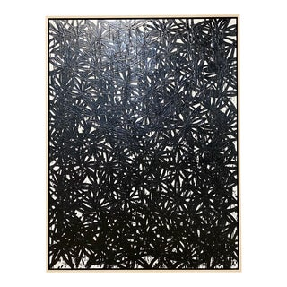 "John O'Hara ""Daisies, Black"" Encaustic Painting"