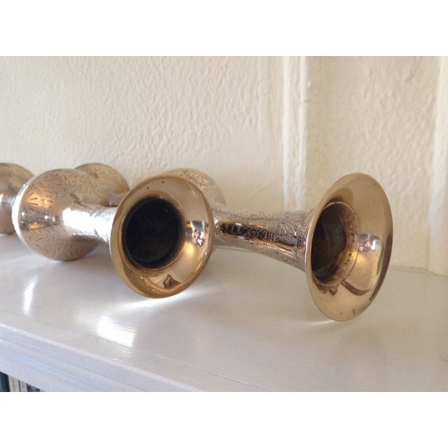 Tall Vintage Brass Vases - a Pair - Image 8 of 9