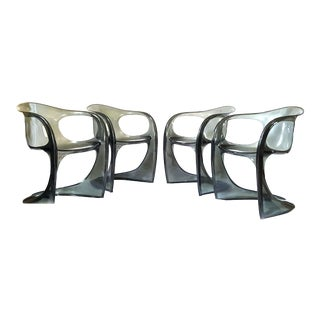 Mid-Century Smoked Lucite Dining Chairs - Set of 4 For Sale
