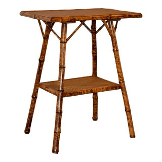Late 19th C. French Bamboo Side Table For Sale