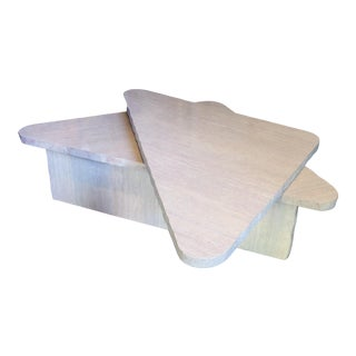 Vintage Postmodern Faux Marble Wedge Shaped Coffee Table For Sale