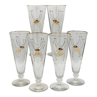 Mid-Century Space Age Gold Atomic Sputnik Pilsner Glasses - Set of 6 For Sale