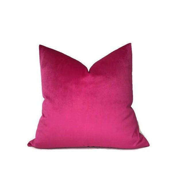 Fuchsia Velvet Pillow Cover For Sale - Image 4 of 4