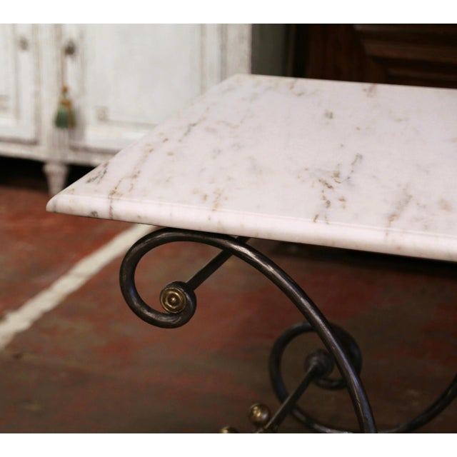 Metal 19th Century French Polished Iron and Bronze Pastry Table With Marble Top For Sale - Image 7 of 13