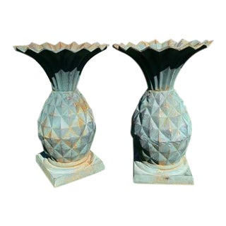 Victorian Style Pineapples Style Planters - a Pair For Sale