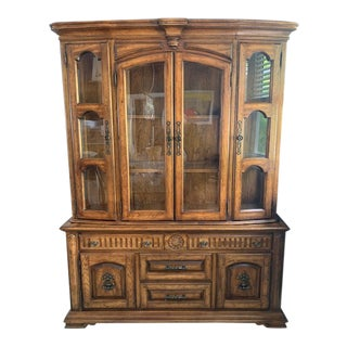 Vintage Bernhardt Hibriten Solid Pecan China Cabinet For Sale