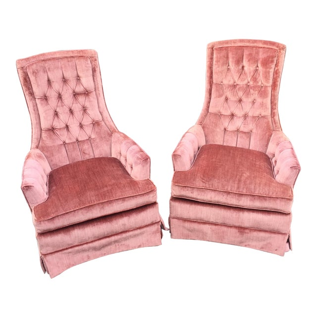 Vintage Mauve Velvet Hollywood Tufted Club Chairs - Pair - Image 1 of 11