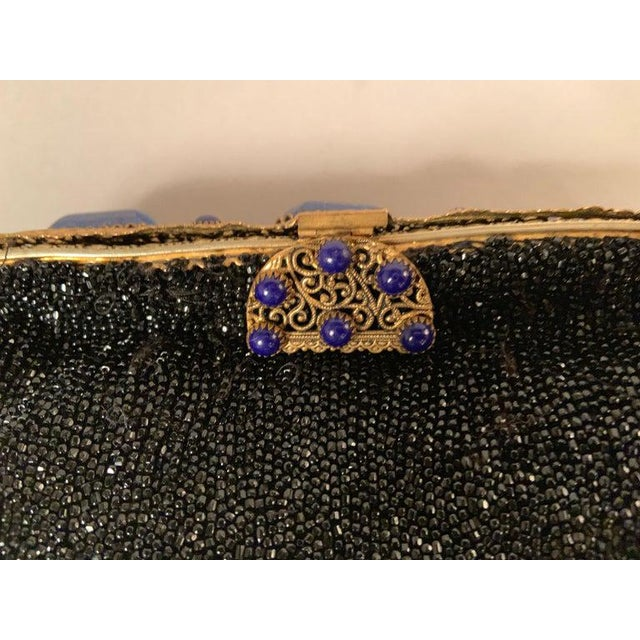 Metal French Caviar Beaded Black Evening Bag With Lapis Lazuli and Gold Toned Wirework Frame For Sale - Image 7 of 10