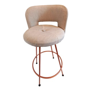 Vintage Mid Century Industrial Chic Swivel Bar Stool For Sale