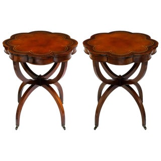 Elegant 1940s Mahogany Spider Leg End Tables With Tooled Leather Top For Sale