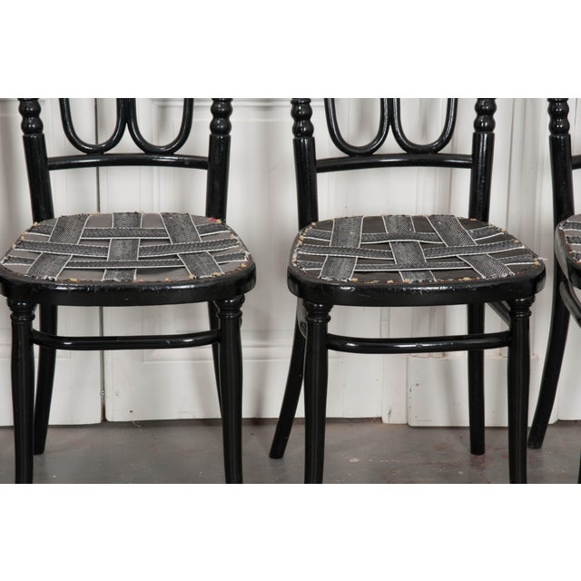 Art Nouveau Set of Four Ebony Thonet Bentwood Side Chairs For Sale - Image 3 of 13