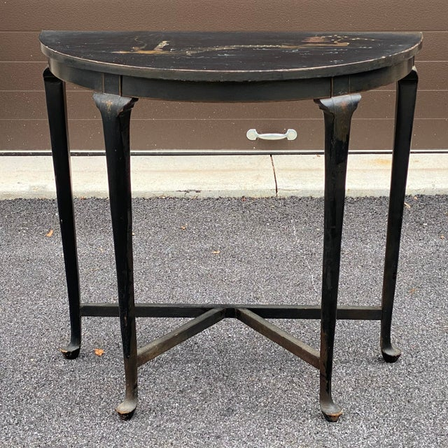 Antique Chinoiserie Demilune Accent Table For Sale - Image 13 of 13
