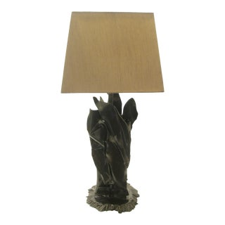 Custom Organic Steel Table Lamp with Shade For Sale