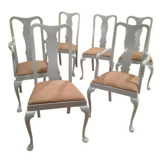 1980s Queen Anne Light Blue Professionally Lacquered Dining Chairs - Set of 6