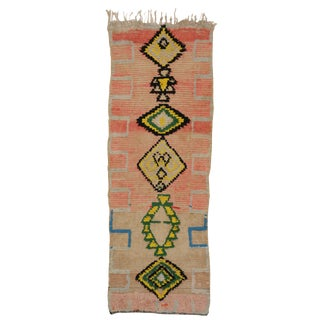 Vintage Moroccan Berber Tribal Design Runner - 3'8 x 8'