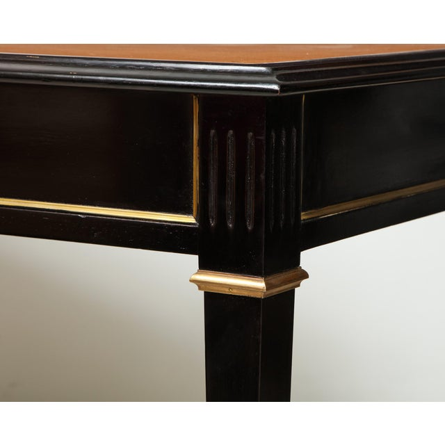 Mid 20th Century Ebonized Leather-Top Bronze-Mounted Bureauplat Desk For Sale - Image 5 of 11