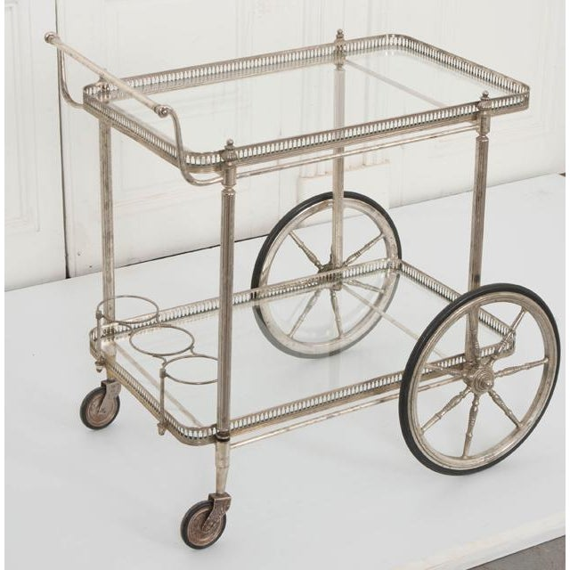 French Vintage Silver Bar Cart For Sale - Image 11 of 13