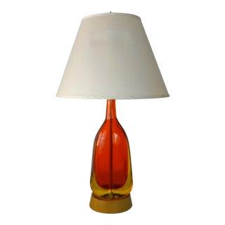 1950s Flavio Poli Sommerso Murano Orange Yellow Table Lamp For Sale
