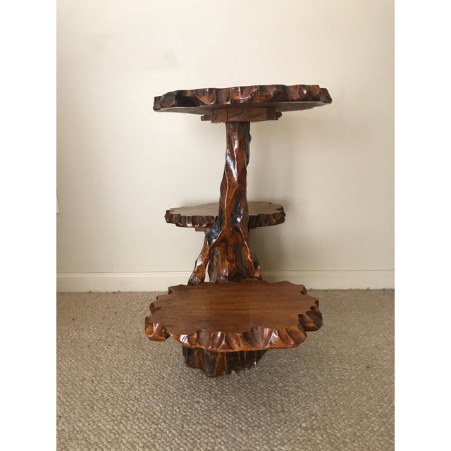 Burlwood Burlwood Live Edge Side Table For Sale - Image 7 of 10