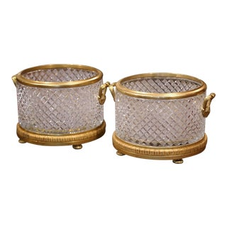 19th Century French Baccarat Style Bronze Dore and Cut Glass Planters - a Pair For Sale