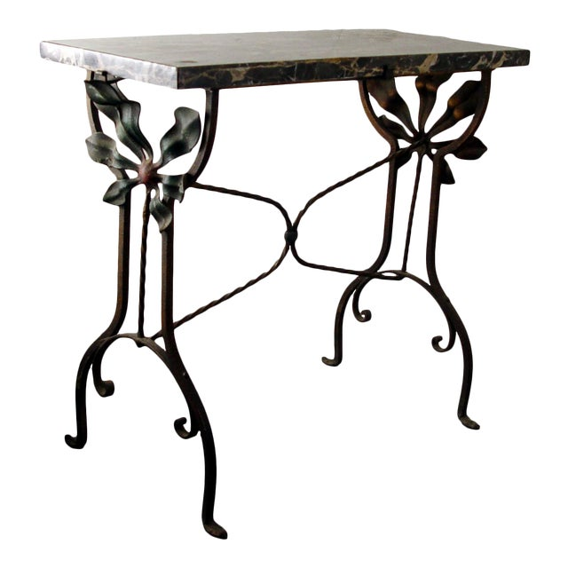 Art Deco Iron Marble Top Hand Forged Side Table For Sale