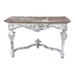 19th Century French Louis XIV Marble Top Console For Sale