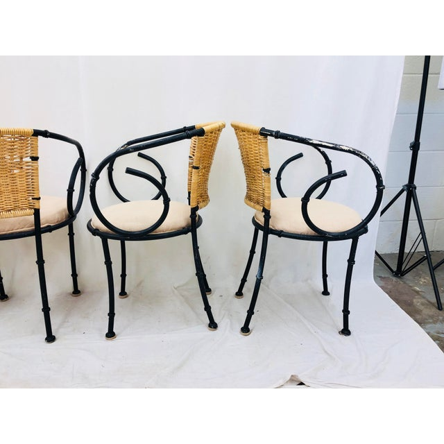 Vintage Metal & Wicker Bistro Chairs For Sale In Raleigh - Image 6 of 13