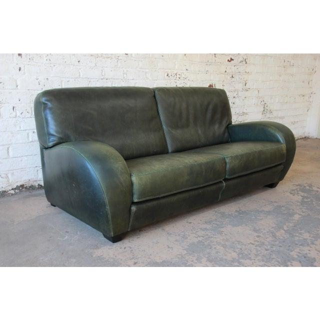 Roche Bobois Roche Bobois Art Deco Green Leather Sofa For Sale - Image 4 of 8