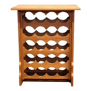 1990s Arts and Crafts Handcrafted Solid Oak Floor Wine Rack For Sale