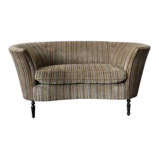 Vintage Barrel Gold Striped Settee For Sale
