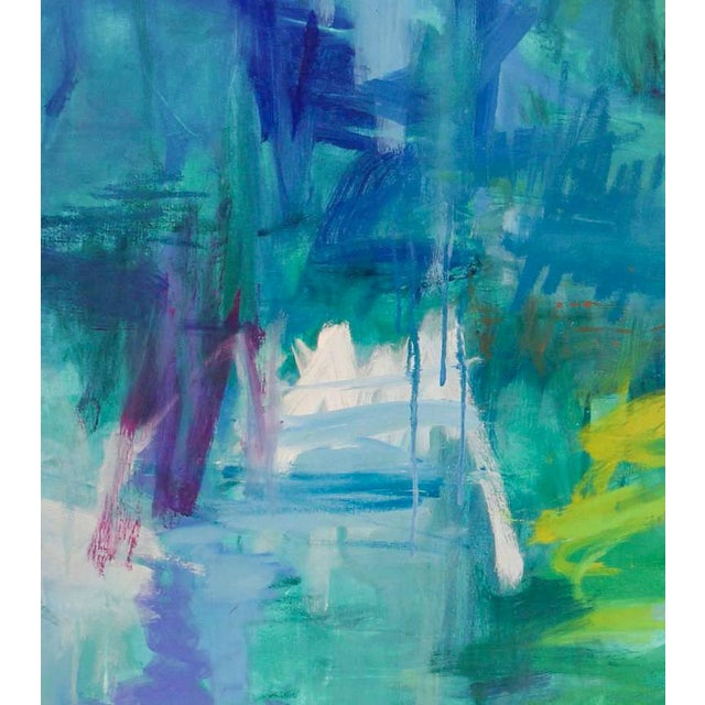 """Blue Large Abstract Painting by Trixie Pitts """"Reflections"""" For Sale - Image 8 of 9"""