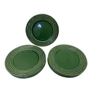 "Green ""Bamboo"" Portuguese Dinner Charger Plates - Set of 12 For Sale"