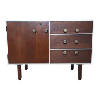 Mid Century Modern Jens Risom Walnut Media Unit Office Cabinet For Sale
