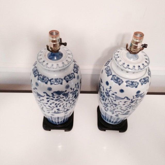 Vintage Blue & White Porcelain Lamps - Pair - Image 3 of 6