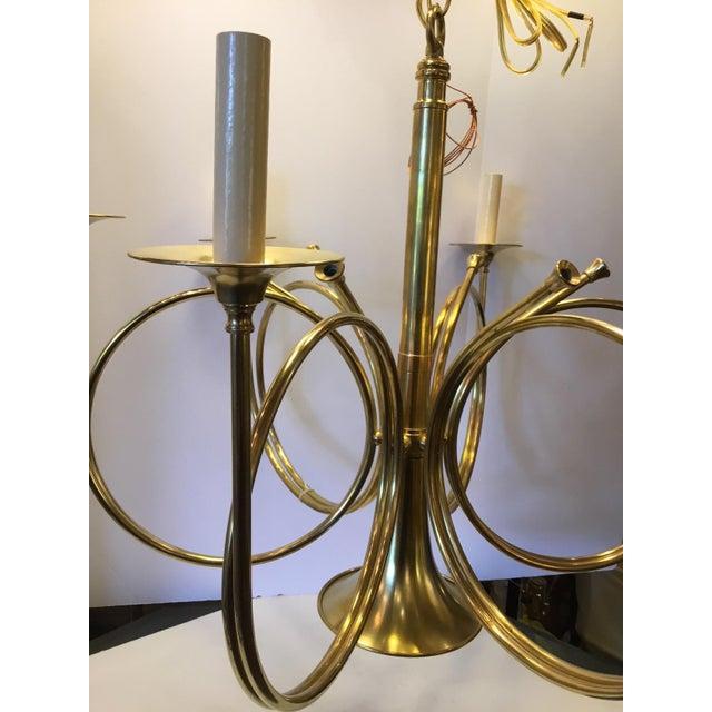 1980s Vintage Frederick Cooper French Horn Chandelier For Sale - Image 5 of 9