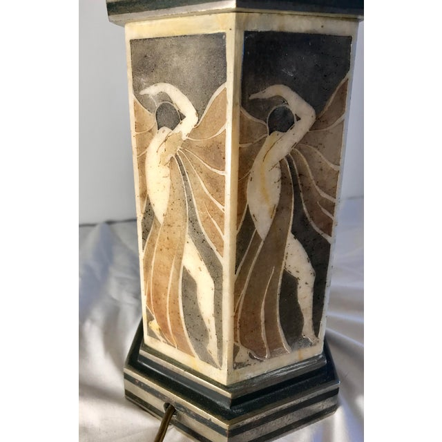 Gold French Art Deco Bronze and Alabaster Table Lamp For Sale - Image 8 of 9