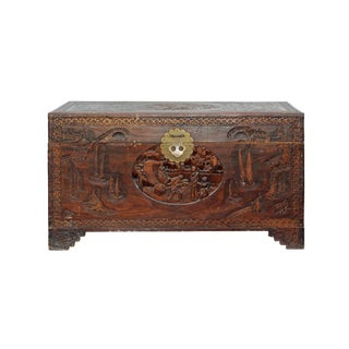 Oriental Asia Brown Relief Scenery Motif Carving Trunk Table For Sale