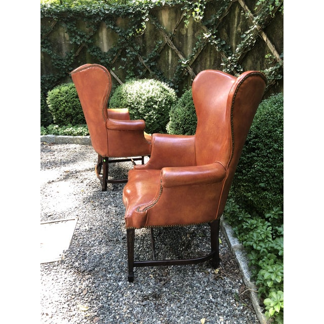 1960s Mid-Century Modern Brown Faux Leather Wingback Chairs - a Pair For Sale - Image 4 of 12