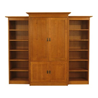 1990s Vintage Stickley Mission Style Entertainment Bookcase - 3 Pieces For Sale