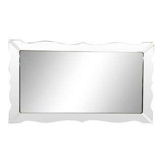 Large Italian Mid-Century Cut Glass Wall Mirror For Sale