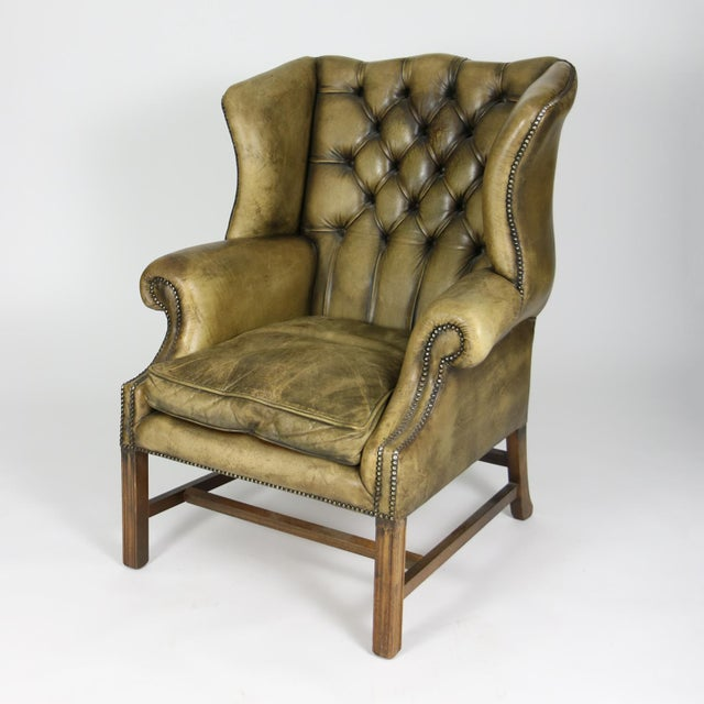 Late 19th Century Mahogany and Original Tufted Green Leather Wing Chair For Sale - Image 9 of 13