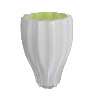 Scandinavian White & Neon Yellow Art Glass Fluted Vase by Kosta Boda
