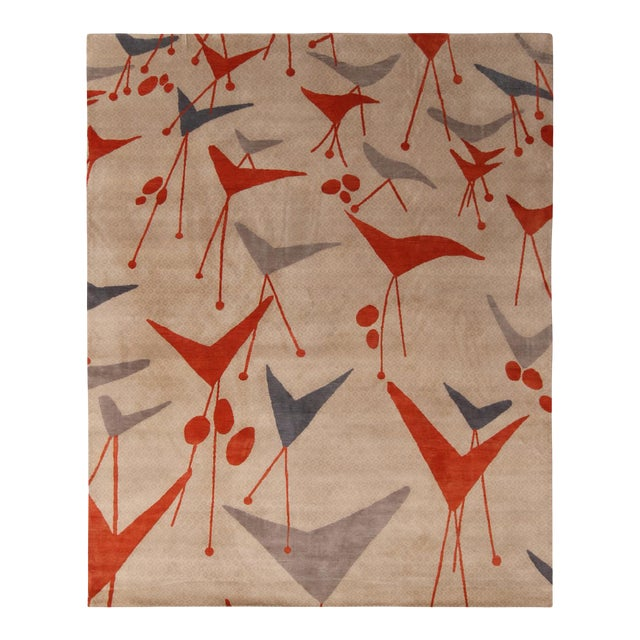 Rug & Kilim's Mid-Century Modern Geometric Beige Gray and Red Wool and Silk Rug For Sale
