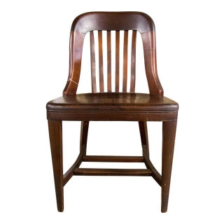 1950s Vintage Oak Fiddle Back Side Chair