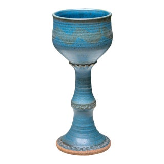 Vintage Art Pottery Chalice by Ceramic Artist Oscar Bucher For Sale