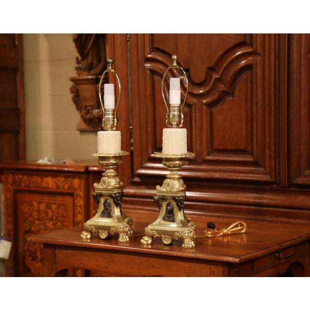 19th Century French Patinated Bronze Candlesticks Made Table Lamps - a Pair For Sale In Dallas - Image 6 of 9