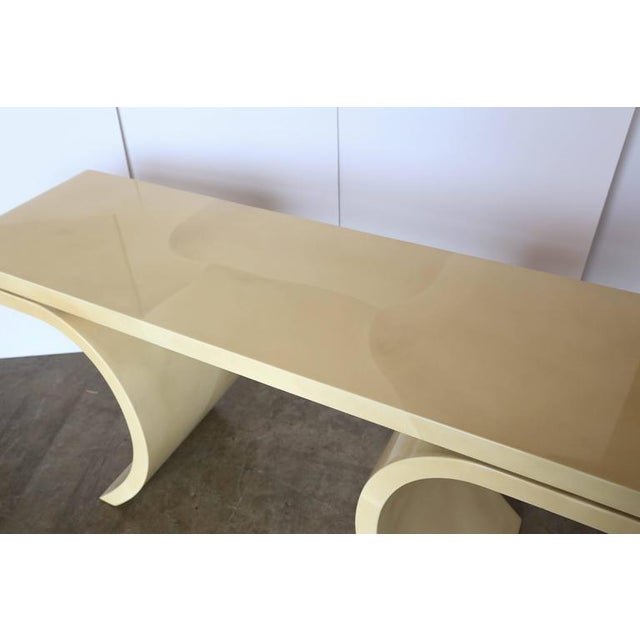 Mid Century Modern Lacquered Goat Skin Console Table in the Manner of Karl Springer - Image 2 of 10